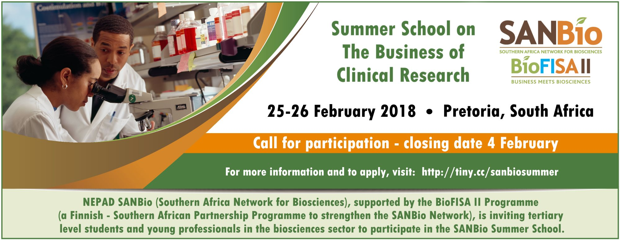 SANBio Summer School: The Business of Clinical Research -Pretoria South Africa ( Partially Funded)